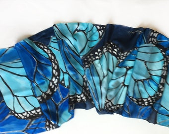 Butterfly Wings Silk Scarf painted by hand/ Cobalt Blue Silk Shawl/ Butterflies scarf/ Hand painted scarf/Long fashion scarf Luxury gift mom