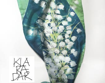 Silk Scarf Lily of The Valley/ Blue green scarf/ Hand painted scarf/ Floral scarf handpainted. Luxury gift for her/ Birthday gifts for her