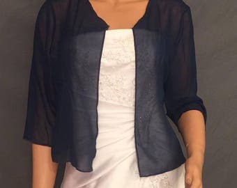 Chiffon bolero shrug with 3/4 sleeves hip length jacket wedding coat cover up sheer bridal wrap CBA214 AVL in navy blue and 5 other colors
