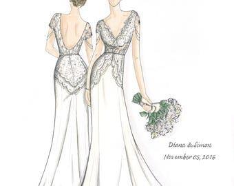 Custom (Full Body) Bridal Gown Illustration