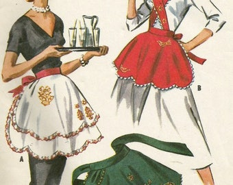 Vintage 50s McCalls 2182 Holiday Aprons with Metallic Motifs Sewing Pattern One Size