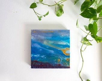 """Original Abstract Painting, 10x10"""" Bold Stained Canvas Art, blue, green, purple, yellow """"Colorblock 20"""", small modern contemporary acrylic"""