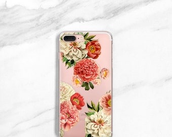 Peony iPhone 8 Case Clear Floral iPhone 7, Plus Case, SE, 6s Plus, Gift For Her, Peonies Bunch iPhone X Case Flowers Samsung Galaxy S8
