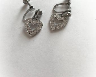 Vintage Rhinestone Heart Dangle Earrings Screw Backs