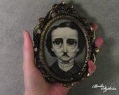 Poe portrait - original art, framed art, miniature portrait, big eye art, low brow art, pop surrealism, pencil drawing, gothic art