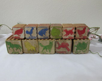 Wood Blocks Interlocking Letters and Animals Set of 11 in 2 Sizes