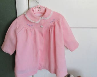 Baby Spring Coat Pink Linen Plus a Vintage Pink Plastic Hanger with Train Design