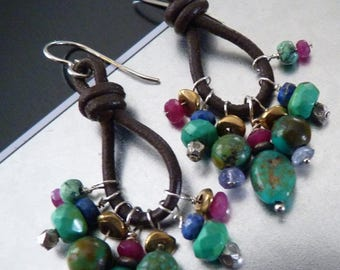 Turquoise & Leather Loop Earrings - Genuine Ruby, Lapis, Iolite Gems and Sterling - TURQUOISE TRIAD