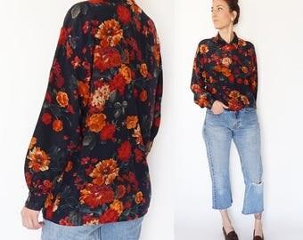 vintage 90s BUTTON UP oversize dark FLORAL silk blouse S-M