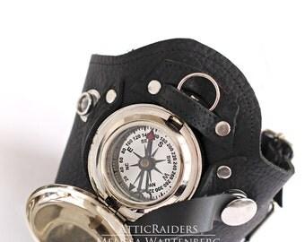 Steampunk Compass Holster Cuff , Black Cuff , Pocketwatch Holster , Compass Holster , Steampunk Bracelet , Steampunk Cuff , Watch , Cuff