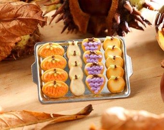 MTO-Miniature Autumn Fruit Cookies on Tray - Fall / Halloween - 12th Scale Miniature Food