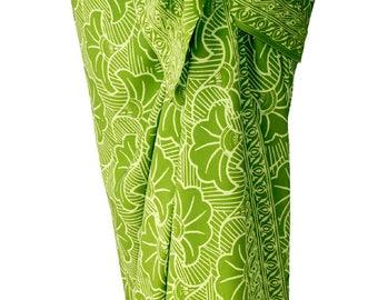 Beach Sarong Pareo Chartreuse Gingko Sarong Skirt or Dress Women's Beach CoverUp - Green Batik Sarong Beach Wrap Skirt - Womens Swimwear