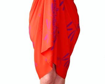 PLUS SIZE Clothing Dragonfly Sarong Dress Women's Plus Size Clothing Beach Sarong Extra Long Beach Cover Up Orange & Purple Batik Pareo