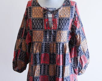 Hippie PATCHWORK cotton BOHO festival top by Sunner sz. Medium