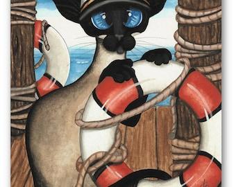 Siamese Sailor Captain Cat Sailing Art - Prints by Bihrle ck403