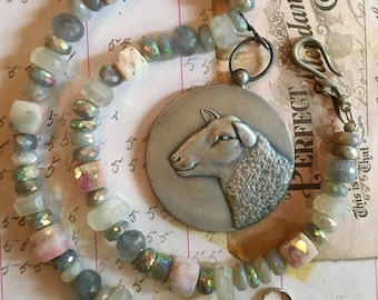 Have You Any Wool? Super Sweet Sheep Medallion Necklace
