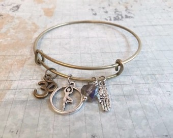 Christmas in July Sale Yoga Lovers Charm Bracelet, Om, Brahmanm, Hand Of Fatima