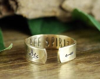 Arrow Ring, Free Spirit Ring, Secret Message Ring, Boho Ring, Inspirational Quote Ring, Personalized Ring, Personalized Cuff Ring