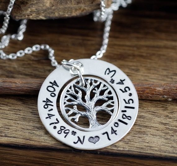 Sterling Silver Family Tree Necklace, Coordinates Necklace, Personalized Family Necklace, Latitude Longitude Necklace, Journey Necklace