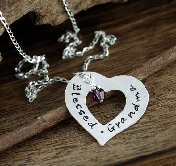 Grandmother Necklace | Blessed Grandma | Personalized Silver Heart Necklace | Gift for Grandma | Hand Stamped Jewelry | Grandma Jewelry