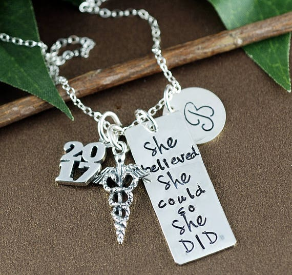 Personalized Nurse Gift, Medical Graduation, She believed she could so She Did Necklace | Graduation Gift for DR | Gift for Graduate
