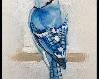 Bluejay Acrylic Painting Original Art