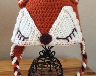 Cute Little FOX Hat Crochet Earflaps and Braids Photo Prop Costume Newborn Baby Child Adult Sizes
