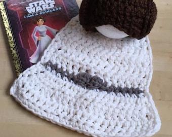 Princess Leia Inspired Star Wars Rebel Newborn Baby Photography Photo Prop Crochet Hat Hair Wig Cape Dress Costume