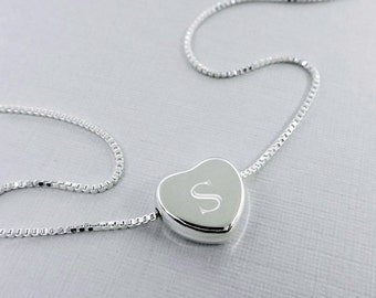 Engraved Heart Necklace, Personalized Heart Necklace, Sterling Silver Heart Necklace, Bridesmaid Gift Necklace, Wedding Necklace