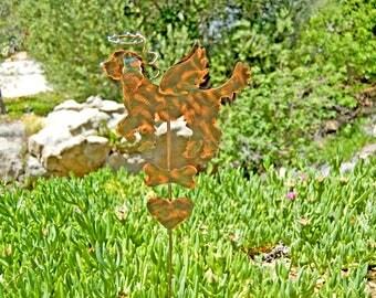 Golden Doodle Pet Memorial Metal Garden Art Stake, Copper Pet Memorial, Dog Grave Marker, Garden Memorial Marker, Outdoor Metal Sculpture,