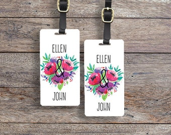 Luggage Tag Floral Names Lovers Metal Luggage Tag With Printed Custom Info On Back, Single Tag