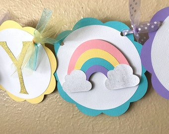 Rainbow Party Banner, Rainbow Birthday Banner, Girl Rainbow Party, Pastel Rainbow Party, Gold Glitter Rainbow, Rainbow Birthday Party, Pink