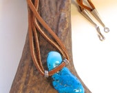 Men's Turquoise Nugget Necklace with Deerskin and Sterling