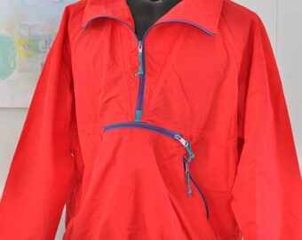 Vintage Windbreaker by Sierra Designs Rain Shell Track Jacket Red 90s XL