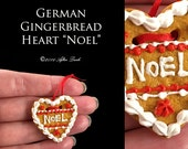 Luxury Christmas Gingerbread Heart - Artisan fully Handmade Miniature in 12th scale. From After Dark miniatures.