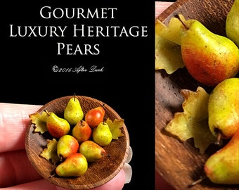 Heritage Piece Gourmet Pears - set in a Fine Artisan Turned Bowl - Artisan fully Handmade Miniature Dollhouse Food in 12th scale.