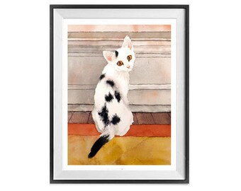 Custom Pet Portrait Original watercolor painting with 1 face of your cat, dog, bird, Etc... 8 x 10 in,  9 x 12 in, 11 x 14 in