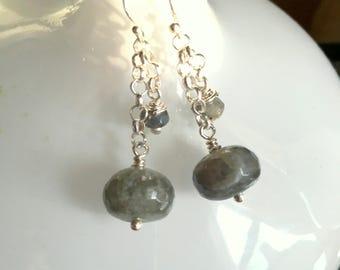 Labradorite on sterling silver chain drop earrings