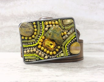 "Yellow Belt Buckle with Bright Tribal Beading & Rough Yellow Stones - Cool Buckle for Jeans with Ocean Jasper by Sharona Nissan 3.5"" by 2.5"""