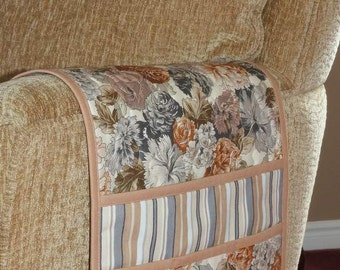 Quilted Armchair Caddy, Remote Holder, Bedside Pockets, Floral Neutral Tan Grey Brown