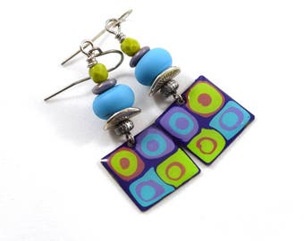 Turquoise and Green Square Boho Chic Earrings, Silver Earrings, Turquoise Earrings, Artisan Earrings, Green Earrings, Paint and Resin,AE212