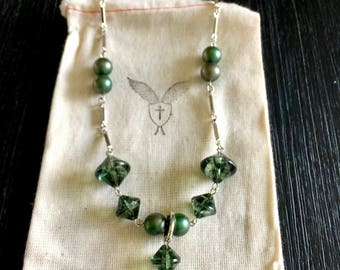Handmade Ladies Necklace - Repurposed Jade Green Acrylic and Faux Pearl Beads with Antique St. Patrick Medal