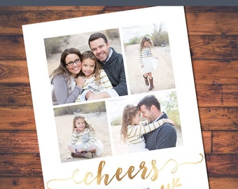 4 Photo Fancy Gold Foil Holiday Card Digital Design (4x6, 5x7 and costco 6x7.5)