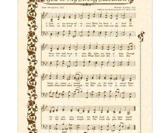 GOD Is My STRONG SALVATION - Hymn Wall Art - Custom Christian Home Decor - Vintage Verses Sheet Music - Inspirational Wall Art - Sepia Brown