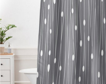 Modern Geometric Shower Curtain // Bathroom // Entangled Grey Design // Modern Geometric // Shower // Bathroom Decor // Minimalist // Grey