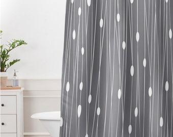 Grey Geometric Shower Curtain // Bathroom // Entangled Grey Design // Modern Geometric // Shower // Bathroom Decor // Minimalist // Grey