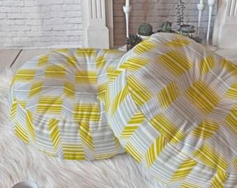Midcentury Modern Floor Pillow // Round & Square // Yellow Grey Geometric // Dorm Decor // Home Decor // Floor Cushion // Delineate Design