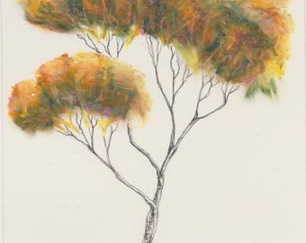 Golden brown original tree painting ~ oil pastel and ink; A4 paper
