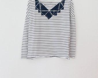 White striped handmade t shirt, hand printed shirt, striped white and blue top