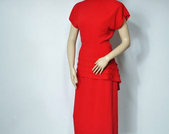 Vintage Red Dress 1980's John Roberts Body Con Peplum Classic Size 5 - 6